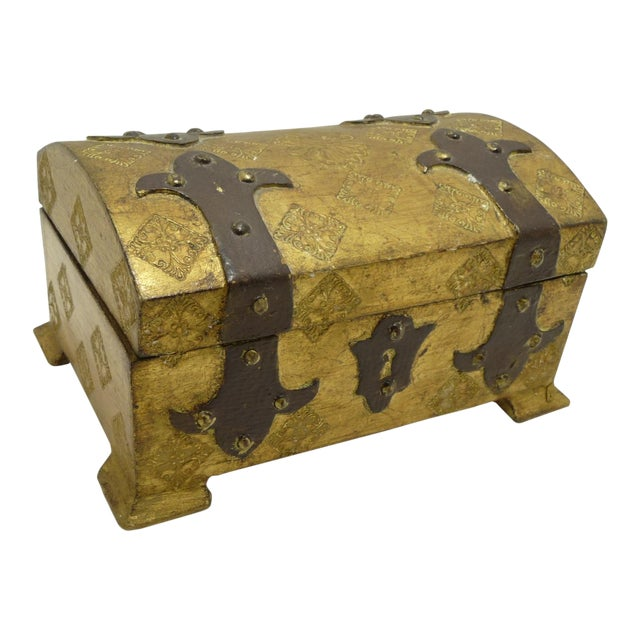 Vintage Wood Gold Gilt Florentine Dome Top Trunk Keepsake Box Italy - Image 1 of 7