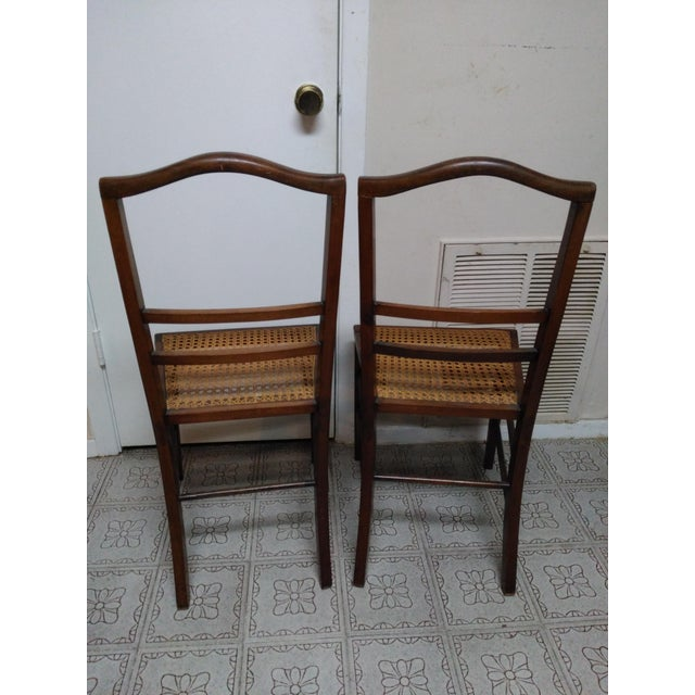 Cane Seat Wood Chairs - A Pair - Image 4 of 10