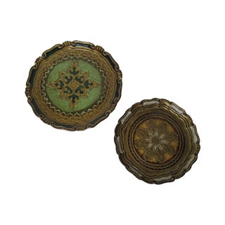 Florentine Round Gold Trays - A Pair