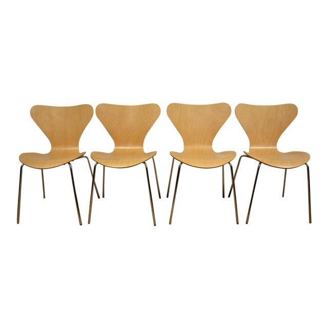 Arne Jacobsen Style Birch Dining Chairs - Set of 4 - Image 1 of 11