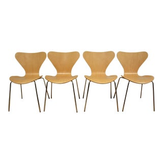 Arne Jacobsen Style Birch Dining Chairs - Set of 4