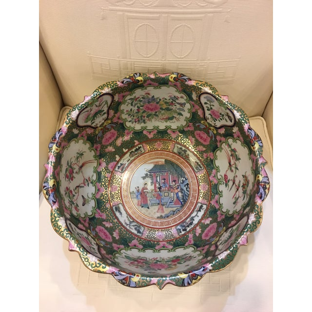 Chinese Canton Style Famille Rose Porcelain Punch Bowl - Image 5 of 7