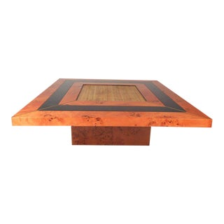 Gorgeous Mid-century Modern Burl and Cane Coffee Table