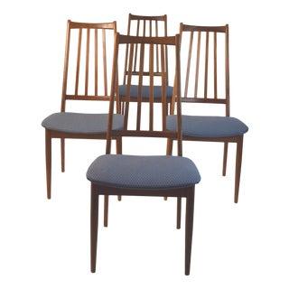 Mid-Century Teak Slat Back Chairs- Set Of 4