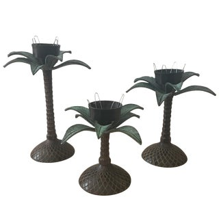 Cast Iron Palm Tree Candlesticks - Set of 3