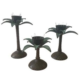 Cast Iron Palm Tree Candlesticks - Set of 3
