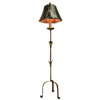Antique French Tole  Candle Stand Floor Lamp