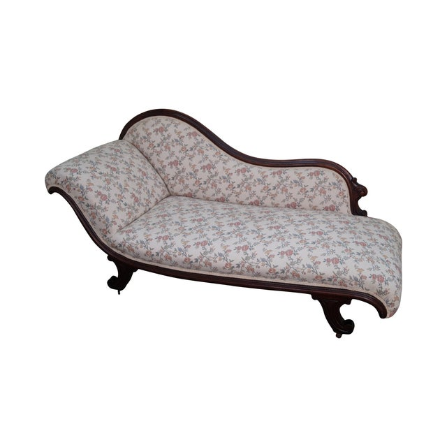 19th century walnut frame recamier chaise lounge chairish for 19th century chaise lounge