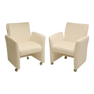 Pair of White Suede Armchairs by Milo Baughman on Castors