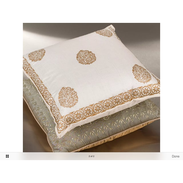 Ivory Silk Pillow Gold Hand Block Print - Pair - Image 5 of 5