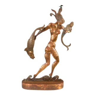 Art Deco Sculpture of a Nude Woman Carrying Fish