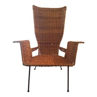 Mid-Century Modern Arthur Umanoff Style Iron & Wicker Chair