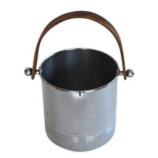 Chrome Ice Bucket With Wood Handle