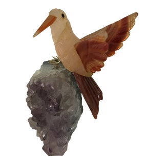 Carved Rose Quartz & Citrine Bird on Amethyst