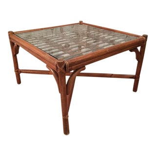 Vintage McGuire Style Bamboo Square Coffee Center Table