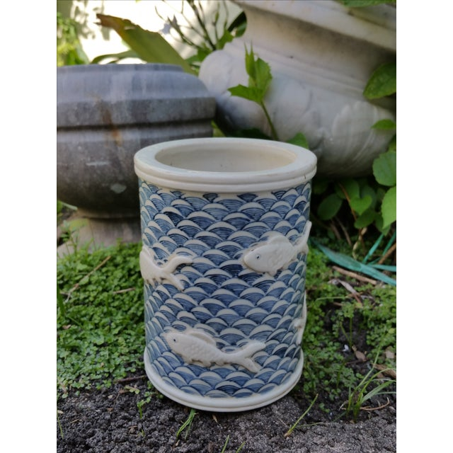 Calligraphy Brush Holder With Raised Fish Design - Image 3 of 6