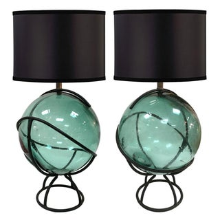 1950s Caged Fishing Float Lamps - A Pair