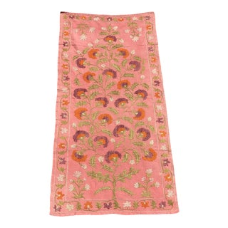 Pink Silk on Cotton Floral Table Runner