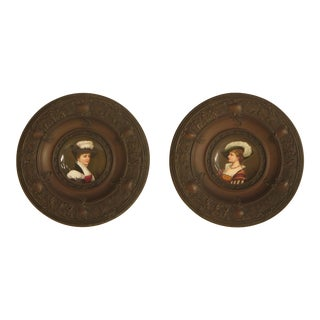 Antique Victorian Era Bronze Framed Porcelain Plaques - A Pair