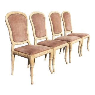 1975 Vintage Carved Frame & Mauve Suede Dining Chairs - Set of 4