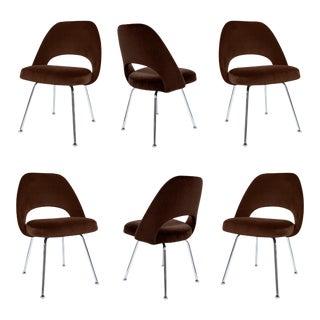 Saarinen Executive Armless Chairs in Espresso Brown Velvet, Set of Six