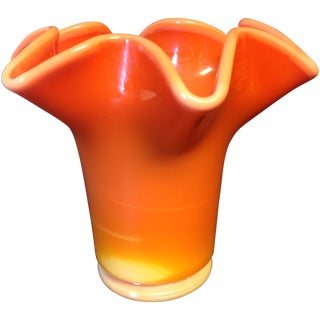 Viking Yellow & Orange Opalescent Art Glass Vase