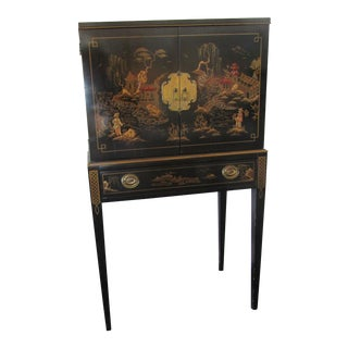 Drexel Chinoiserie Felt Lined Silver Cabinet