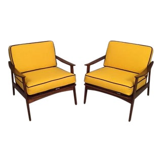 Mid-Century Yellow Armchairs - A Pair