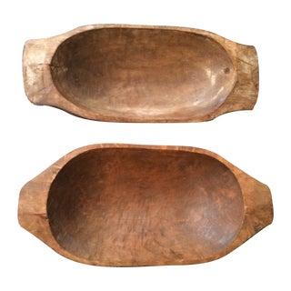 Primitive Wood Bowls - Pair