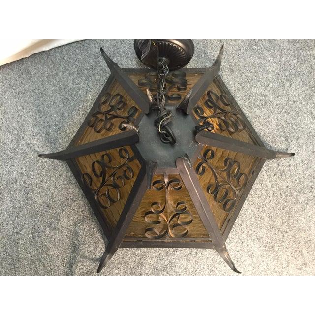 Gothic Spanish Revival Iron Slag Glass Light - Image 6 of 7