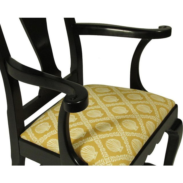 Black Lacquer Dining Chairs - Set of 8 - Image 4 of 5