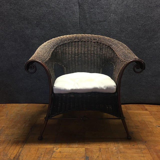 Wood & Iron Outdoor Armchairs W/ Seat Cushions - A Pair - Image 5 of 10