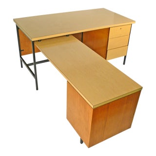 Early Florence Knoll Desk and Return