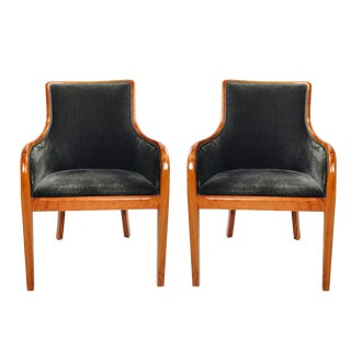 Transitional Mohair & Cherry Wood Zographas Chairs - A Pair