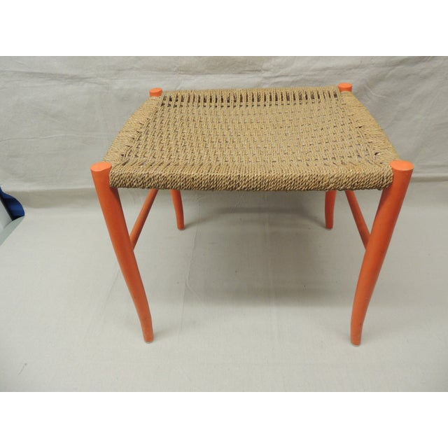Mid Century Modern Orange Bench With Rush Seat - Image 3 of 4
