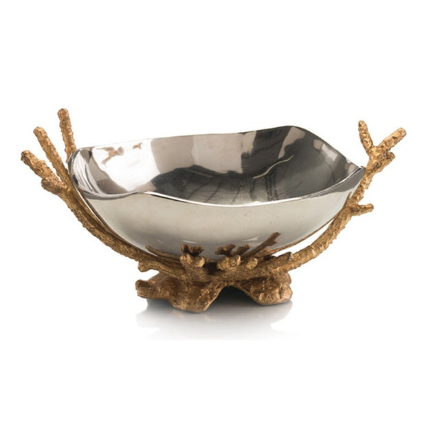 Modern Nickel Bowl on Brass Coral Stand - Image 2 of 4