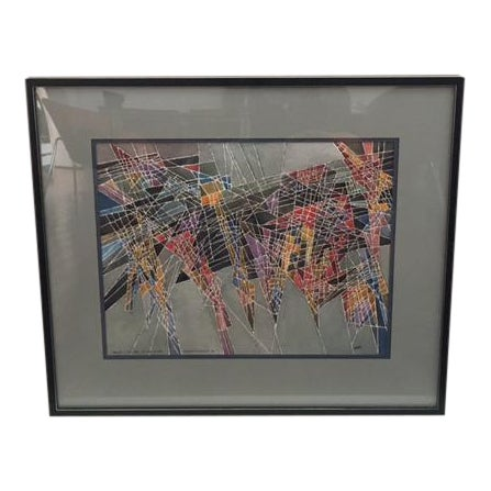 Geometric Abstract Watercolor Painting - Image 1 of 9