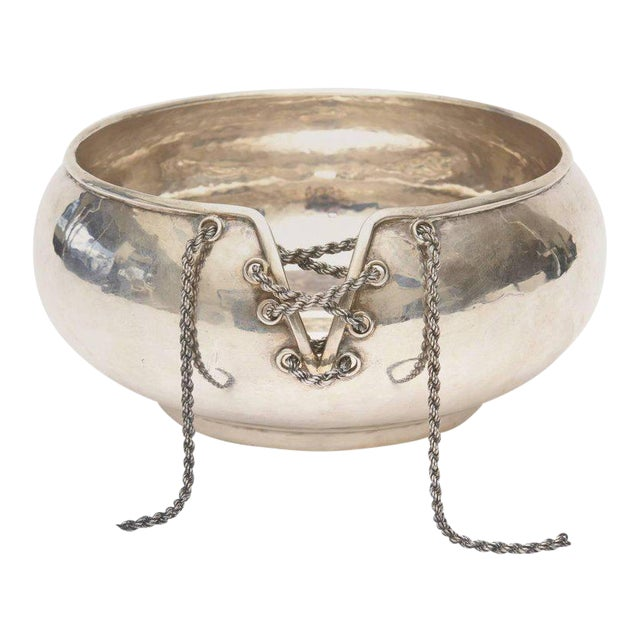 Italian Hand Forged Hallmarked Sterling Silver Corset Bowl - Image 1 of 11