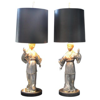 Asian Figure Zinc Lamps - A Pair