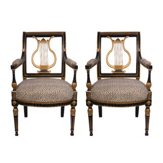 19th Century Italian Neoclassical Ebonized and Parcel-Gilt Armchairs