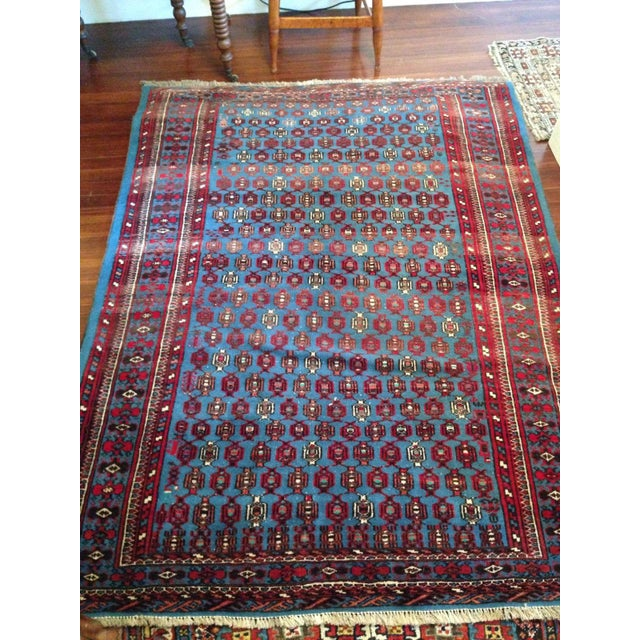 """Antique Blue/Red Persian Tribal Rug - 4'8"""" X 6'5"""" - Image 5 of 9"""