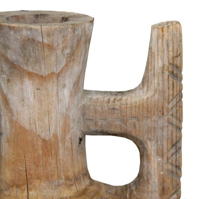Hand-Carved Antique Wood Ewer - Image 5 of 6
