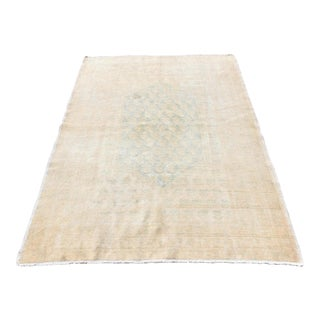 Antique Handmade Peach Oushak Wool Area Rug - 4′6″ × 6′11″