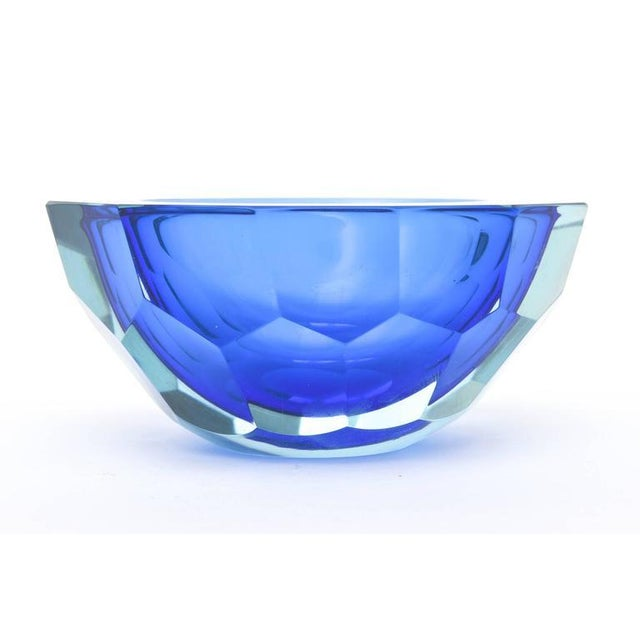 Image of Italian Murano Sommerso Diamond Faceted Flat Cut Polished Glass Geode Bowl