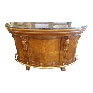 Wood Bar with Faux Marble Top