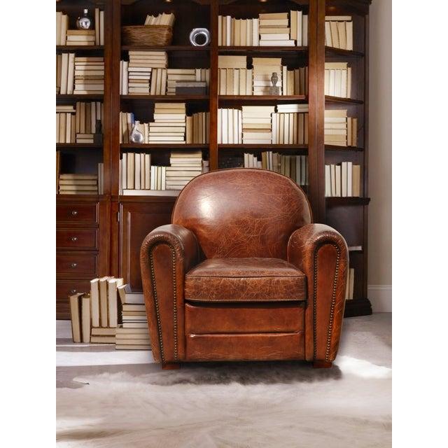 Pasargad Genuine Leather Paris Club Chair Chairish