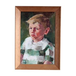 Framed Acrylic on Canvas Portrait of Young Boy
