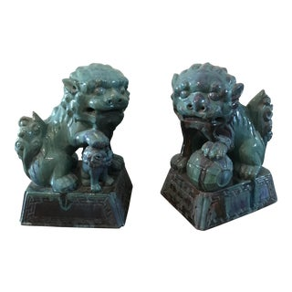 Cast Terra Cotta Glazed Chinese Foo Dog Lions - a Pair
