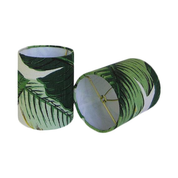 Tommy Bahama Palm Drum Chandelier Sconce Shades - A Pair - Image 1 of 2