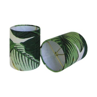 Two New Drum Chandelier or Sconce Shades, Tommy Bahama Swaying Palms in Aloe